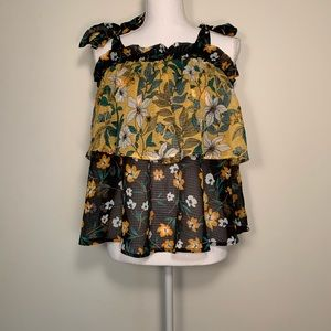 Black and Yellow Floral Ruffle Tank